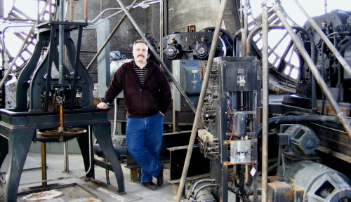 Joe at work in the clock